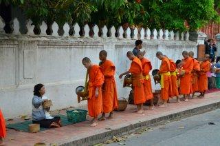 Mönche sammeln ihre Essensgabe