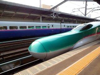 so schnell ist der Shinkansen, man kann ihn nicht scharf fotografieren -)