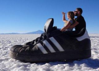 Spassfotos in der Salzwüste