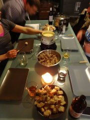 leckeres Fondue zum Abendessen