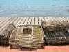 Die Holzkäfige worin die Fische frisch gehalten werden